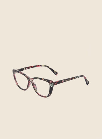Floral Print Cateye Reading Glasses, Black,  glasses, reading, cateye, floral print, plastic, fall winter 2020