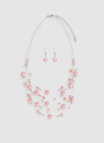 Pearl Necklace Earrings Set, Pink, hi-res
