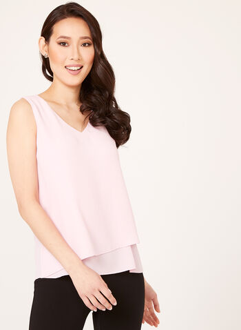 Sleeveless V-Neck Crepe Blouse, Pink, hi-res