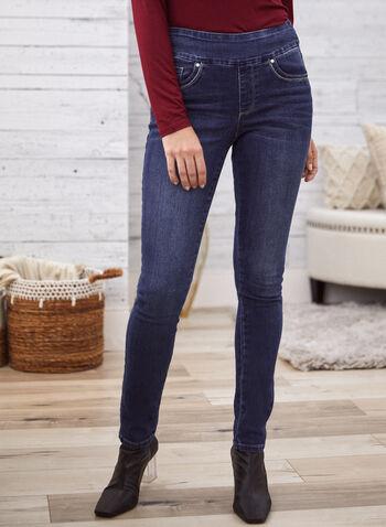 Slim Leg Pull-On Jeans, Blue,  fall 2021, pants, jeans, denim, pant, gg jeans, pull on, slim leg, elastic waist, faux fly, lurex, details, contrast, silver, lining, pockets, rivet, comfy, stretch