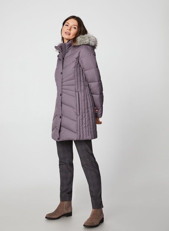 Anne Klein - Removable Hood Quilted Coat, Purple