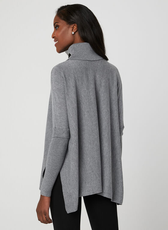 Charlie B - Knit Poncho Sweater, Grey, hi-res