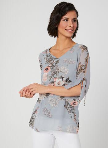 Floral Print Chiffon Top, Grey, hi-res