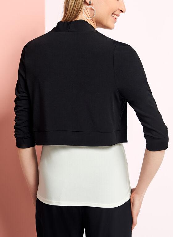 ¾ Sleeve Banded Jersey Bolero, Black, hi-res