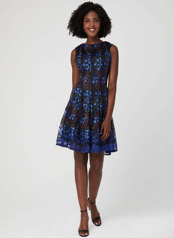 Printed Lace Fit & Flare Dress, Blue, hi-res