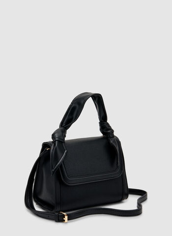Tie Detail Satchel , Black, hi-res,  faux leather, knot, tie detail, removable shoulder strap, fall 219, winter 2019