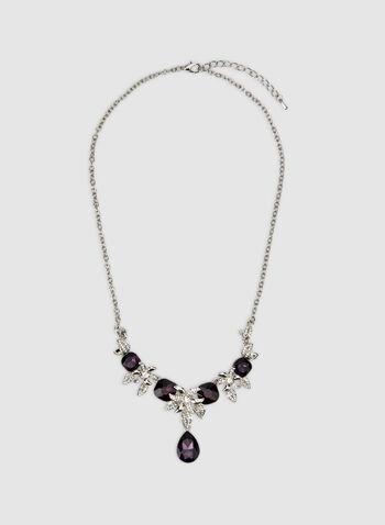 Collier court à pierres facettées et fleurs, Violet, hi-res,  collier, pierres facettées, goutte, fleurs, cristaux, automne hiver 2019