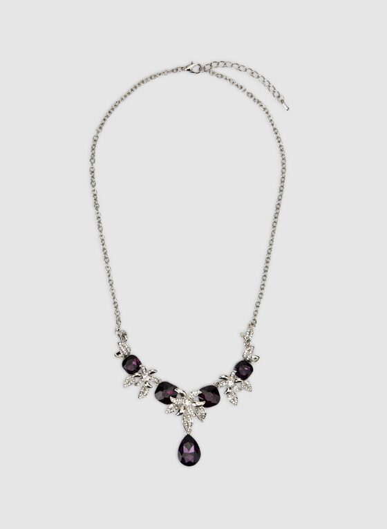 Facetted Teardrop and Crystal Necklace, Purple, hi-res
