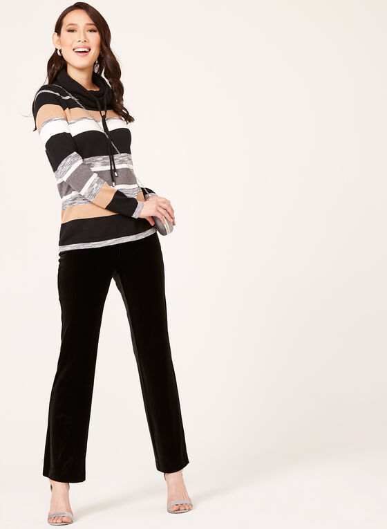 Funnel Neck Stripe Knit Pullover, Black, hi-res