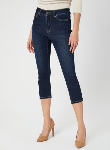 Signature Fit Denim Capris, Blue, hi-res