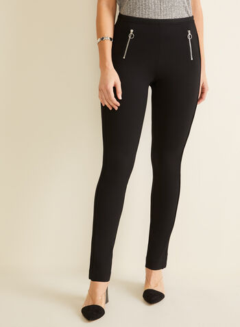 Zipper Detail Leggings, Black,  leggings, pull-on, zipper, city fit, spring summer 2020