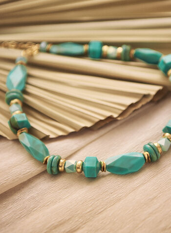 Mixed Bead & Stone Necklace, Blue,  spring summer 2021, accessories, jewellery, jewelry, necklace, mixed bead, mixed stone, bead, stone, short necklace, golden