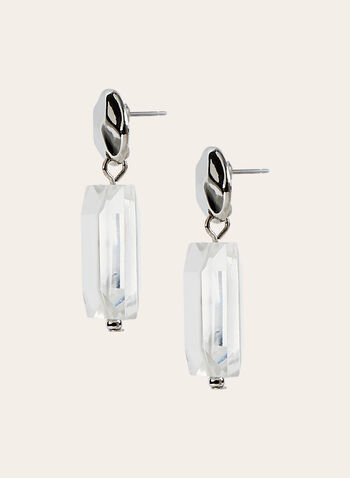 Rectangular Dangle Earrings, Silver, hi-res