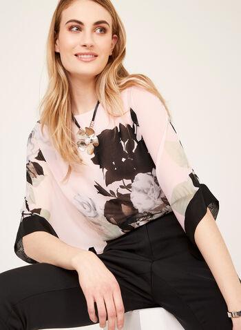 Blouse fleurie kimono à manches ¾, Multi, hi-res