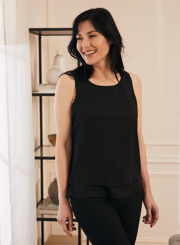 Sleeveless Layered Blouse, Black,  blouse, sleeveless, crepe, layered, spring summer 2020