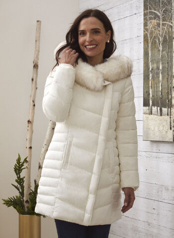 Vegan Down Asymmetrical Coat, Off White,  fall winter 2020, coat, winter, jacket, oversized hood, large hood, faux fur trim, removable hood, water repellent, vegan leather, faux leather, ribbed, assymetric, assymetrical, warm, zipper, zip, pocket, chevron quilting, drawstrings