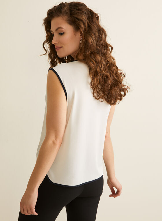 Sleeveless Contrast Top, Off White