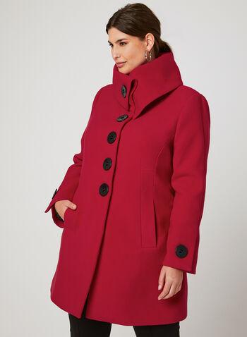 Faux Wool Envelope Collar Coat, Red, hi-res