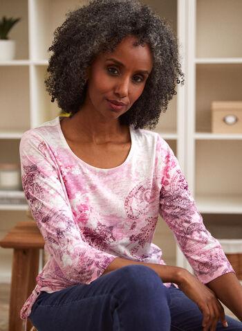 Paisley Print 3/4 Sleeve Tee, Red,  fall winter 2021, shirt, tee, top, blouse, paisley, print, pattern, rhinestone, details, design, scoop neckline, 3/4 sleeves, drawstring details, side drawstrings, light, soft