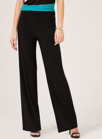 Pull-On Wide Leg Pants, Black, hi-res