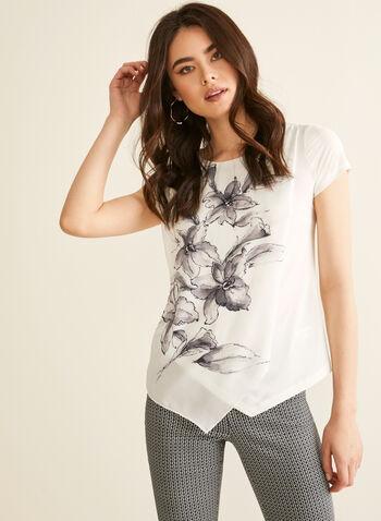Floral Print Top, White,