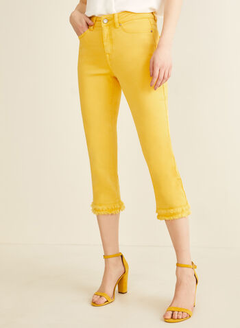 Fringe Bottom Capri Pants, Yellow,  capri, straight leg, double fringes, 5 pockets, Spring 2020