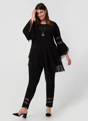 Frank Lyman - Ruffle Sleeve Jersey Top, Black, hi-res,  tunic, top, jersey, ruffle sleeves, mesh inserts, asymmetrical hemline, fall 2019, winter 2019