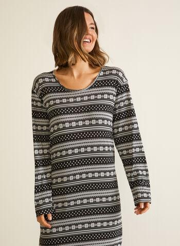 Snowflake Print Nightgown, Black,  sleepwear, nightshirt, nightgown, snowflake, fall winter 2020