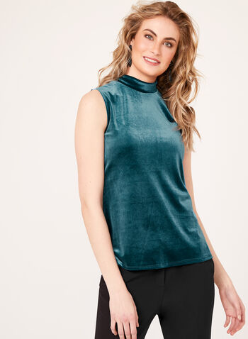 Sleeveless Mock Neck Velvet Top, Blue, hi-res