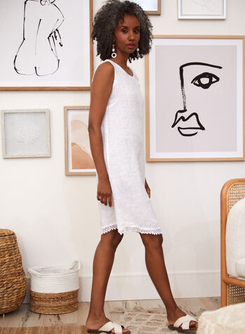 Charlie B - Bow Detail Linen Dress, White,  spring summer 2021, dresses, linen, crew neck, scoop neck, no sleeves, tie, bow, lace,
