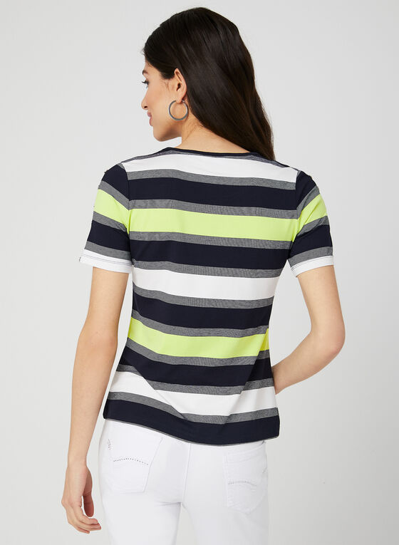 Stripe Print T-Shirt, Blue, hi-res