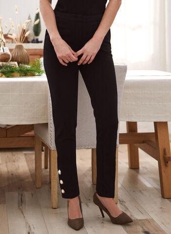 Pantalon coupe cité à détails boutonnés , Noir,  pantalon, coupe cité, jambe droite, perles, taille mi-haute, pull-on, fausses poches, automne hiver 2020
