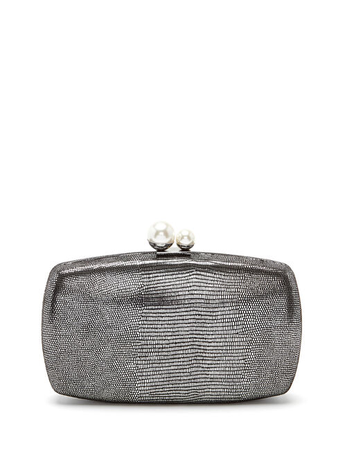 Metallic Box Clutch, Grey, hi-res