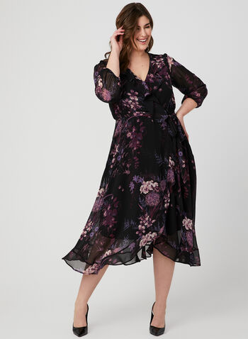 Floral Print Ruffle Dress, Black, hi-res