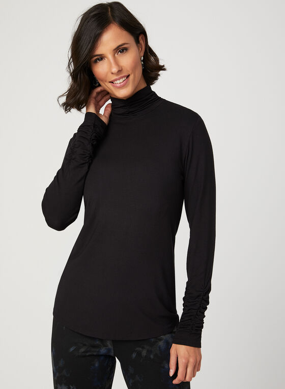 Long Sleeve Turtle Neck Tee, Black, hi-res