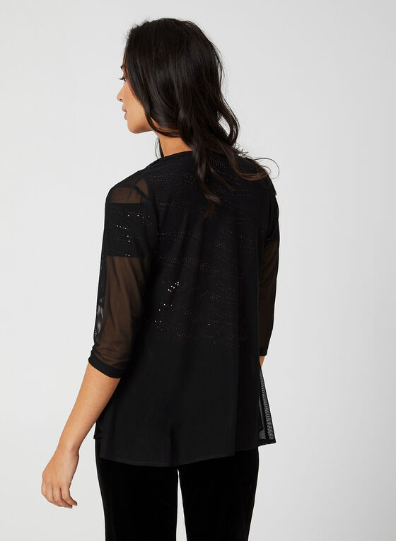 3/4 Sleeve Mesh Bolero, Black