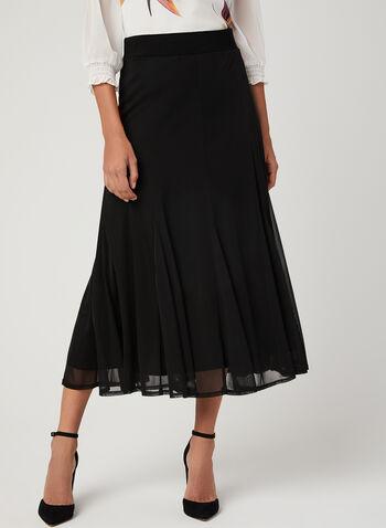Pull-On Flared Mesh Skirt, Black, hi-res