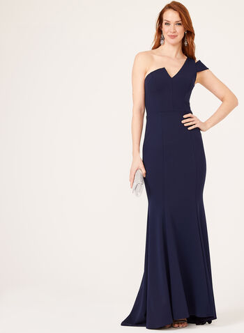 One Shoulder Mermaid Dress, Blue, hi-res