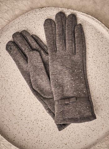 Stud Detail Gloves, Grey,  fall winter 2021, accessory, accessories, gloves, glove, polyester, fabric, soft, cozy, comfy, stud, studded, design, pattern, details, bow