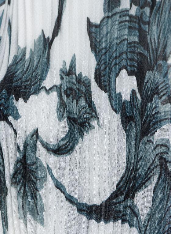 Pleated Floral Print Neckerchief, Black, hi-res