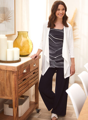 Stripe Print Cover-Up, Off White,  spring summer 2021, cardigan, tops, cover up, made in Canada, striped, vertical stripes,