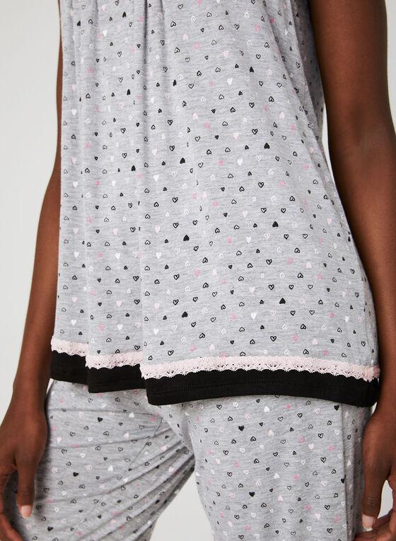 René Rofé – Heart Print Pyjama Set , Grey, hi-res