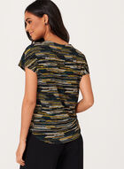 Stripe Print Keyhole Detail Top , Green, hi-res