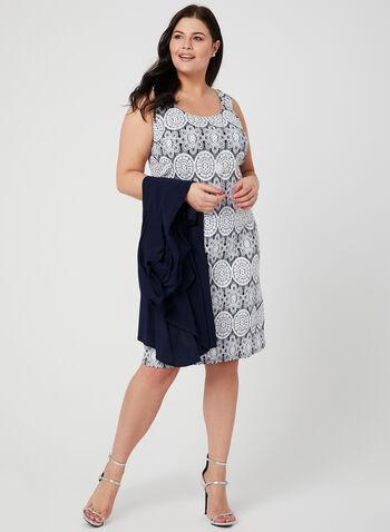 Robe motif médaillon avec cardigan et collier, Bleu, hi-res,  robe de jour, crochet, cardigan, collier sautoir, sans manches, printemps 2019