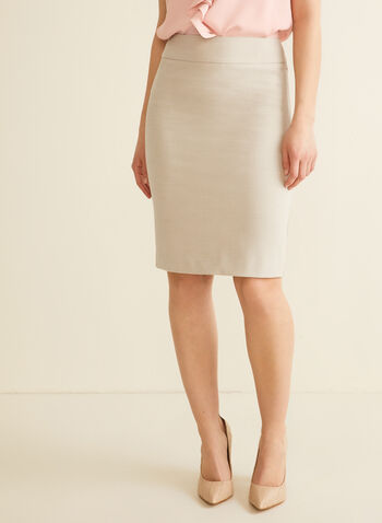 Stretchy Pencil Skirt, Off White,  skirt, pencil, stretchy, slit, spring summer 2020