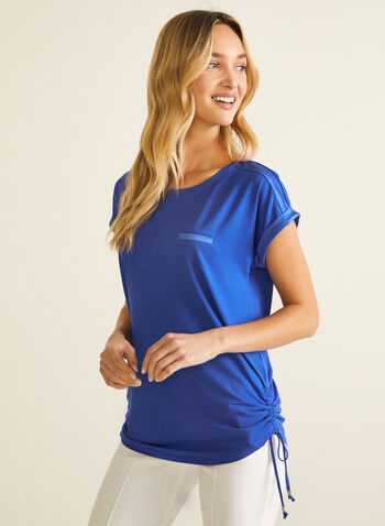 Satin & Tie Detail T-Shirt, Blue,  t-shirt, short sleeves, scoop neck, satin, elastic, tie, jersey, spring summer 2020