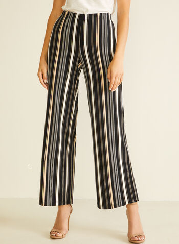 Stripe Print Gaucho Pants, Black,  pants, pull-on, modern fit, wide leg, striped, jersey, spring summer 2020