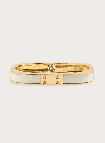 Snakeskin Insert Metal Hinge Bangle, White, hi-res
