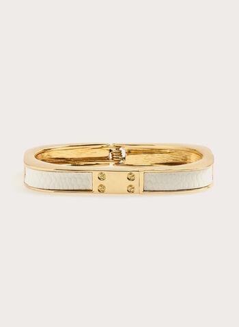 Bracelet carré avec matière aspect serpent, Blanc, hi-res