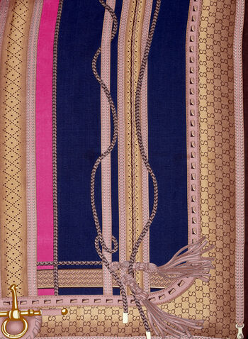 Tassel Print Scarf, Blue, hi-res